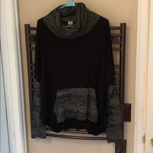 Cute oversized top with cowl neck and front pocket